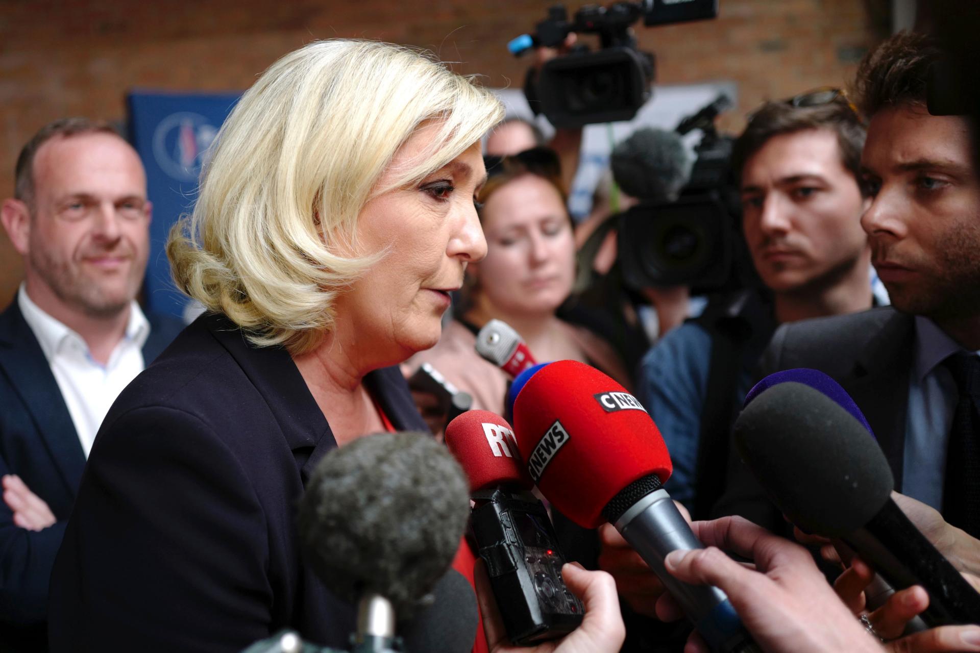 French far-right leader says EU vote a referendum on Macron